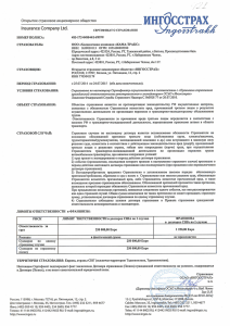 Insurance Policy Ingosstrakh Europe 2014-2015